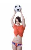 Donna con la sfera di calcio in biancheria intima della presa del sindacato Immagini Stock Libere da Diritti
