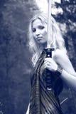 Donna con la spada di katana Immagine Stock Libera da Diritti