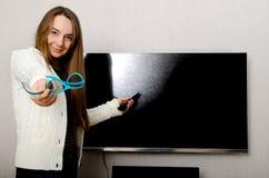 Donna con la TV Immagini Stock Libere da Diritti