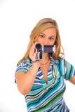 Donna con la videocamera portatile digitale Fotografie Stock Libere da Diritti