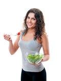 Donna con lattuga Immagine Stock