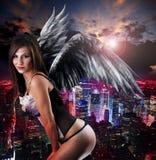 Donna con le ali dei angel´s Fotografia Stock Libera da Diritti