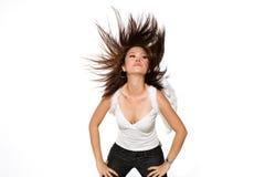 Donna con le ali di angelo gli che scagliano capelli Immagini Stock Libere da Diritti
