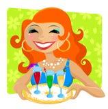 Donna con le bevande illustrazione vettoriale