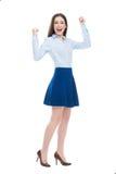 Donna con le braccia alzate Fotografia Stock