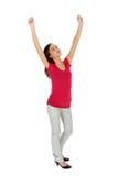 Donna con le braccia alzate Immagine Stock