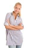 Donna con le braccia attraversate Fotografia Stock