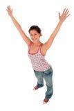 Donna con le braccia outstretched fotografia stock libera da diritti