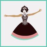 Donna con le braccia outstretched illustrazione vettoriale