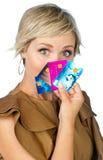Donna con le carte di credito Fotografie Stock