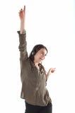 Donna con le cuffie che ascolta e che enjoing musica Ragazza con ballare delle cuffie Fotografia Stock