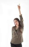 Donna con le cuffie che ascolta e che enjoing musica Ragazza con ballare delle cuffie Immagini Stock