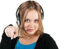Donna con le cuffie ed il microfono Immagine Stock Libera da Diritti