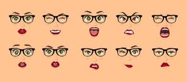 Donna con le espressioni facciali di vetro, gesti, timore di delusione di entusiasmo di tristezza di repulsione di sorpresa di fe royalty illustrazione gratis