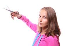 Donna con le forbici Fotografia Stock