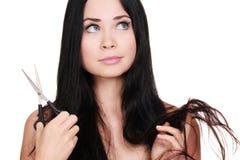Donna con le forbici Fotografia Stock Libera da Diritti
