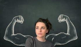 Donna con le forti e armi muscolose schizzate Immagini Stock Libere da Diritti