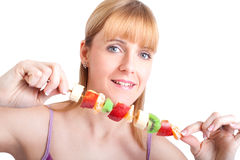 Donna con le frutta e le verdure Immagini Stock