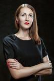 Donna con le labbra rosse. Fotografia Stock