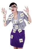 Donna con le note per ricordare al tempo di imposta Fotografie Stock