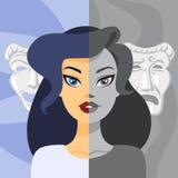 Donna con le oscillazioni di umore Ragazza con cattiva emozione royalty illustrazione gratis