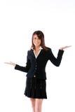 Donna con le palme in su Fotografia Stock Libera da Diritti