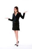 Donna con le palme in su Immagini Stock