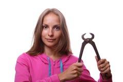 Donna con le pinze, isolate Fotografia Stock Libera da Diritti