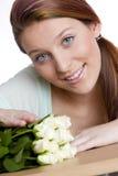 Donna con le rose Fotografia Stock Libera da Diritti