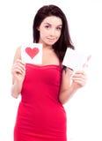 Donna con le schede Immagine Stock Libera da Diritti