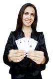 Donna con le schede di gioco Fotografia Stock