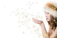 Donna con le stelle immagine stock