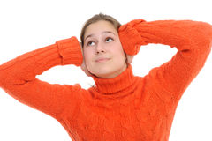 Donna con le sue mani che coprono le sue orecchie immagine stock