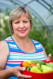 Donna con le verdure in una serra Fotografia Stock