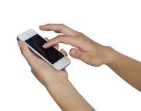 Donna con lo smartphone Immagini Stock Libere da Diritti