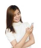 Donna con lo smartphone Immagini Stock