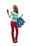 Donna con molte borse shooping Fotografia Stock Libera da Diritti