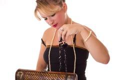 Donna con monili Fotografia Stock Libera da Diritti