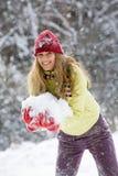 Donna con neve Immagine Stock