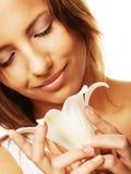 Donna con pelle pulita fresca Fotografia Stock