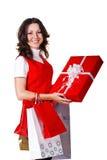 Donna con regali Fotografia Stock