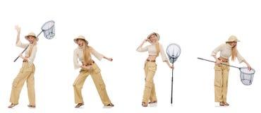 Donna con rete di cattura su bianco Fotografia Stock