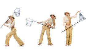 Donna con rete di cattura su bianco Fotografie Stock Libere da Diritti