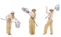 Donna con rete di cattura su bianco Fotografia Stock Libera da Diritti