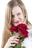 Donna con roses.GN rosso immagine stock libera da diritti