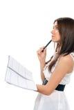 Donna con scrittura dell'organizzatore del taccuino Immagini Stock Libere da Diritti