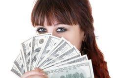 Donna con soldi Immagini Stock