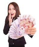 Donna con soldi. Rublo russa. Fotografie Stock