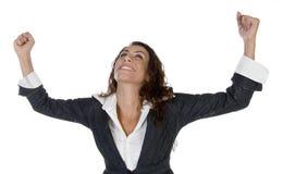 Donna con sollevare le mani Immagini Stock Libere da Diritti