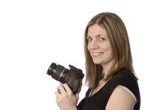 Donna con sorridere della macchina fotografica Fotografie Stock Libere da Diritti